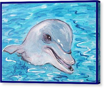 Dolphin 2 Canvas Print by Paintings by Gretzky