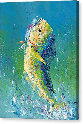 Dolphin Pallet Knife Canvas Print by Kevin Brant