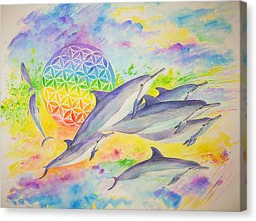 Dolphins-color Canvas Print by Tamara Tavernier