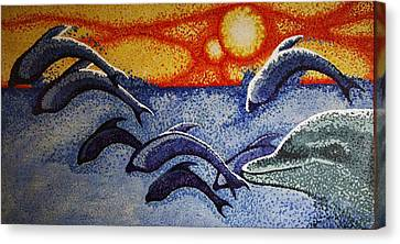 Dolphins In The Sun Canvas Print
