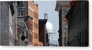 Canvas Print featuring the photograph Dome Bonsecours Market by John Schneider