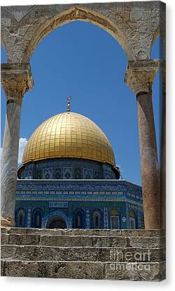 Canvas Print featuring the photograph Dome Of The Rock  by Eva Kaufman
