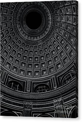 Canvas Print featuring the photograph Dome. Vatican. Black by Tanya  Searcy
