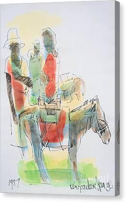 Haitian Canvas Print - Donkey Lady by Carey Chen