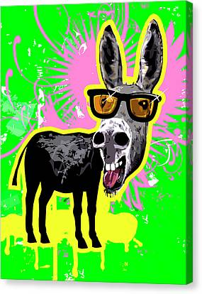 Donkey Wearing Sunglasses, Laughing Canvas Print by New Vision Technologies Inc