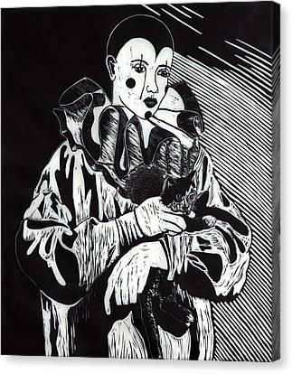 Linoleum Cut Canvas Print - Don't Cry Out Loud by Donna Baruchi
