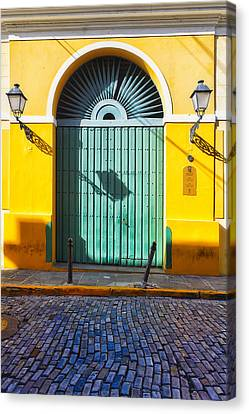 Puerto Rico Canvas Print - Door And Cobblestone Street In Old San Juan by George Oze