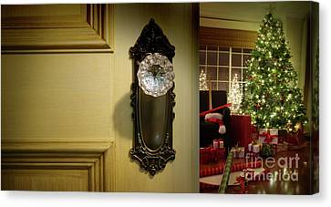 Door Looking Into Christmas Tree Canvas Print by Sandra Cunningham