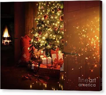 Door Opening Onto Nostalgic Christmas Scene   Canvas Print