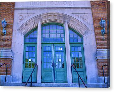 Doors To Old High School  Canvas Print by Steven Ainsworth