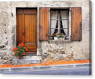 Canvas Print featuring the photograph Doorway And Window In Provence France by Dave Mills