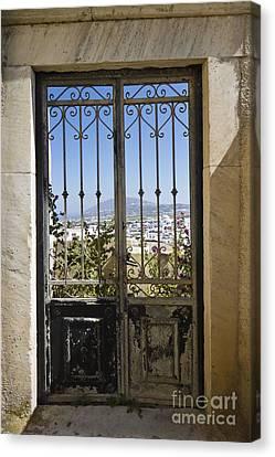 Doorway To Santorini Canvas Print by Dennis Hedberg
