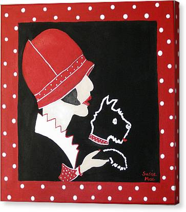 Dottie With The Scottie 1 Canvas Print by Susan McLean Gray