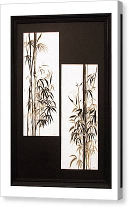Canvas Print featuring the painting Double Bamboo by Alethea McKee