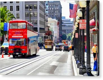Double Decker Sightseeing Bus Along Powell Street In San Francisco California . 7d7269 Canvas Print by Wingsdomain Art and Photography