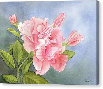 Double Hibiscus Canvas Print by Leona Jones