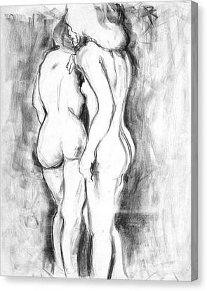 Double Nudes Canvas Print by Elena Irving