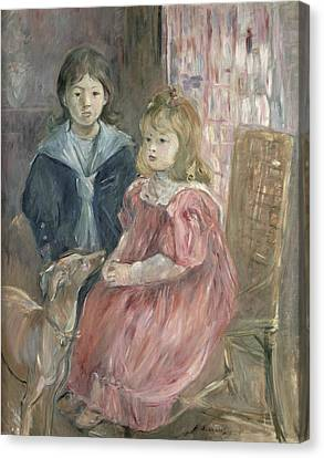 Double Portrait Of Charley And Jeannie Thomas Canvas Print by Berthe Morisot