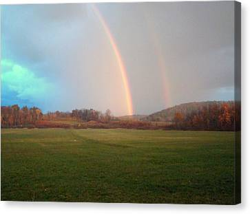 Double Rainbow In The Valley Canvas Print by Mark Haley