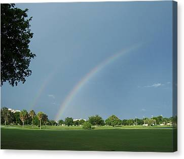 Canvas Print featuring the photograph Double Rainbow by Sheila Silverstein
