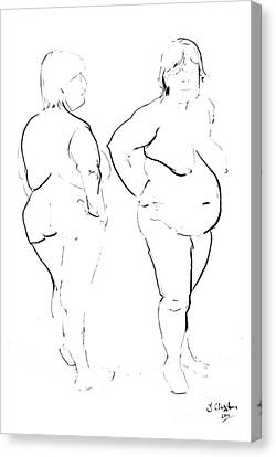 Double Standing Female Nude Canvas Print by Joanne Claxton