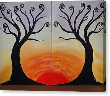 Double Trees Canvas Print by Monica Moser