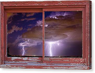 Double Trouble Lightning Picture Red Rustic Window Frame Photo A Canvas Print by James BO  Insogna