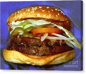 Double Whopper With Cheese And The Works - V2 - Painterly - Purple Canvas Print by Wingsdomain Art and Photography