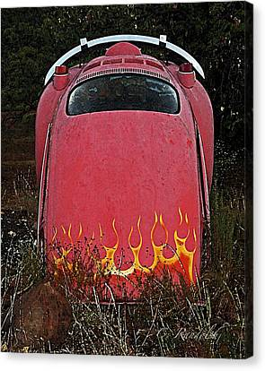 Canvas Print featuring the photograph Down In Flames by Cheri Randolph