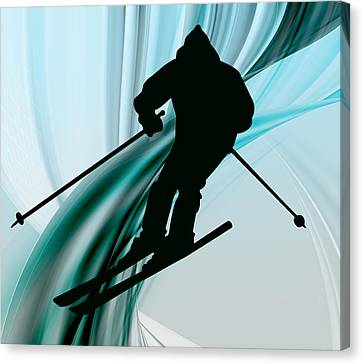 Downhill Skiing On Icy Ribbons Canvas Print by Elaine Plesser