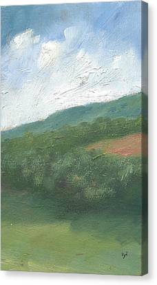 Downland And Trees Canvas Print by Alan Daysh