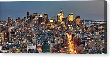 Downtown At Dusk Canvas Print by Photo by Dan Goldberger