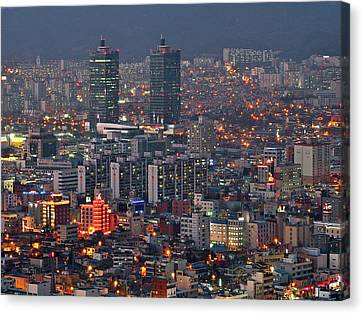 Downtown At Night In South Korea Canvas Print by Copyright Michael Mellinger