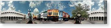 Downtown Bryan Texas Panorama 5 To 1 Canvas Print by Nikki Marie Smith