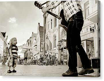 Downtown Busker Canvas Print by Robert Lacy