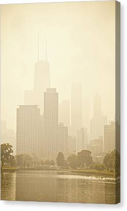 Downtown Chicago In Mist Canvas Print by Andria Patino