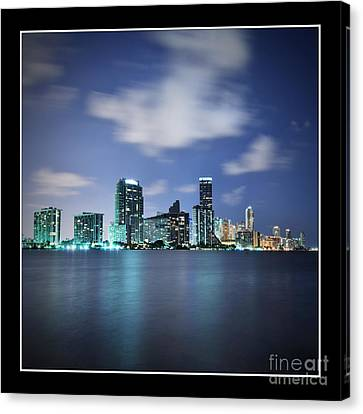 Downtown Miami At Night Canvas Print by Carsten Reisinger