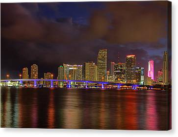 Downtown Miami At Night Canvas Print by Claudia Domenig
