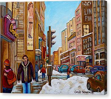 Downtown Montreal Paintings Canvas Print by Carole Spandau