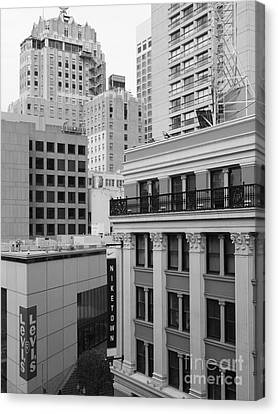 Downtown San Francisco Buildings - 5d19323 - Black And White Canvas Print by Wingsdomain Art and Photography