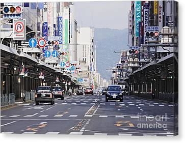 Downtown Street In Japan Canvas Print by Jeremy Woodhouse