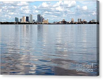 Downtown Tampa Over Hillsborough Bay Canvas Print by Carol Groenen