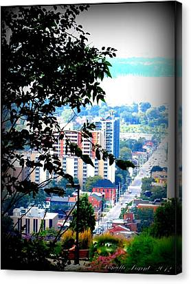 Canvas Print featuring the photograph Downtown View From Hamilton Mountain  by Danielle  Parent