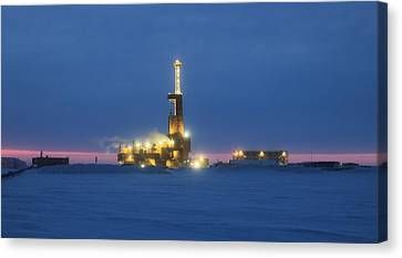 Doyon Oil Rig 25 Sunrise Alaska Canvas Print by Sam Amato