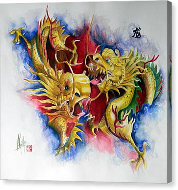 Canvas Print featuring the painting Dragon  by Alan Kirkland-Roath