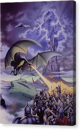 Dragon Combat Canvas Print by The Dragon Chronicles - Steve Re