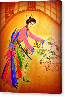 Dragon-geisha Canvas Print by Marie Schwarzer