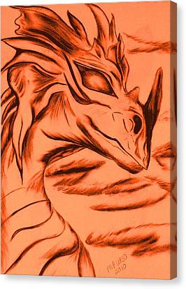 Canvas Print featuring the drawing Dragon In Color by Maria Urso