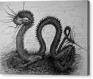 Dragon Looking Back Canvas Print
