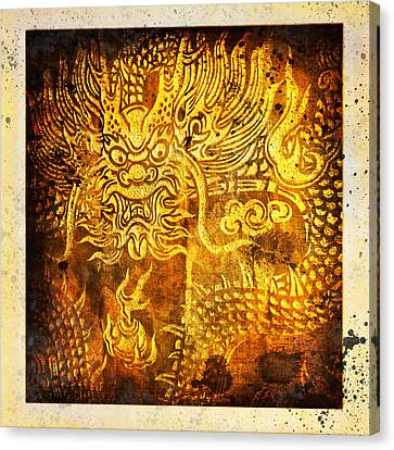 Dragon Painting On Old Paper Canvas Print by Setsiri Silapasuwanchai